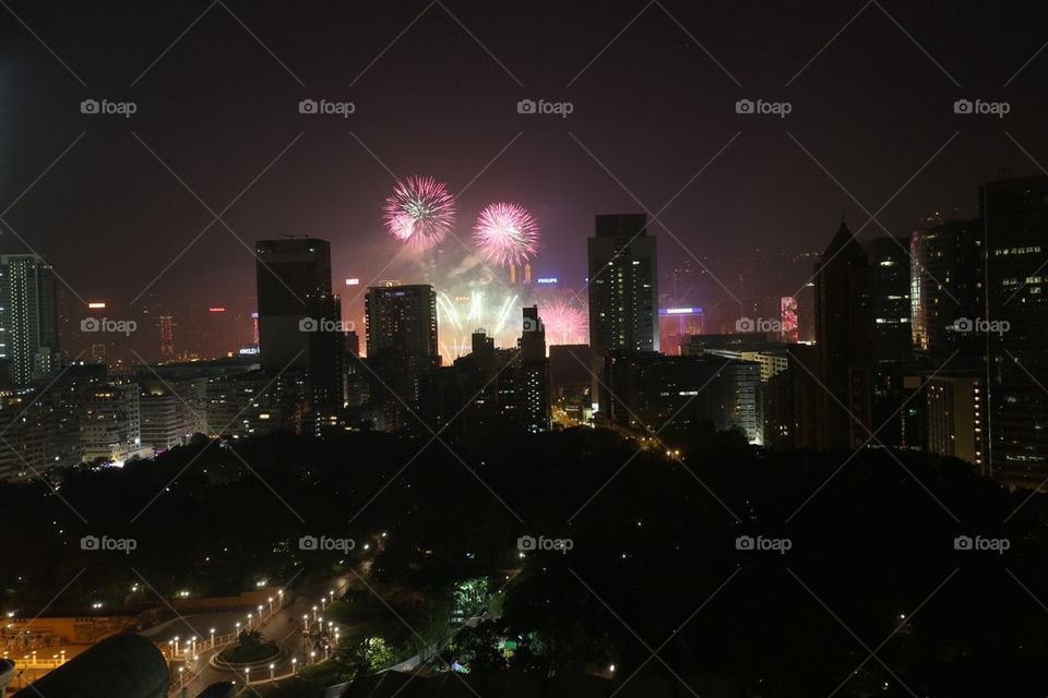 Hong Kong New Years fireworks 2014