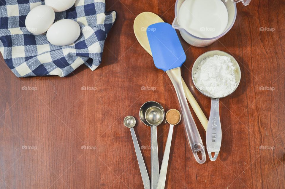 Overhead view of baking ingredents