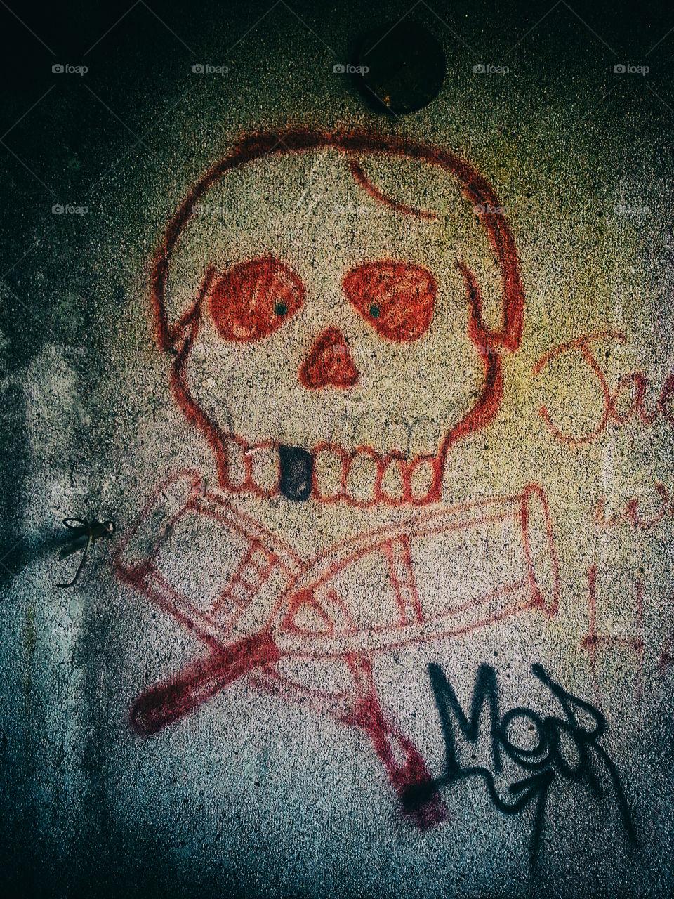 Graffiti skull on wall