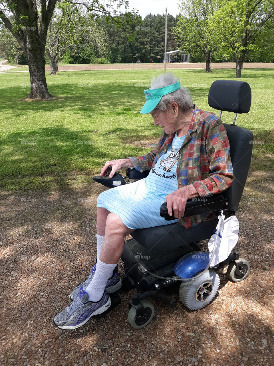 Grandma learning how to use her motorized wheelchair