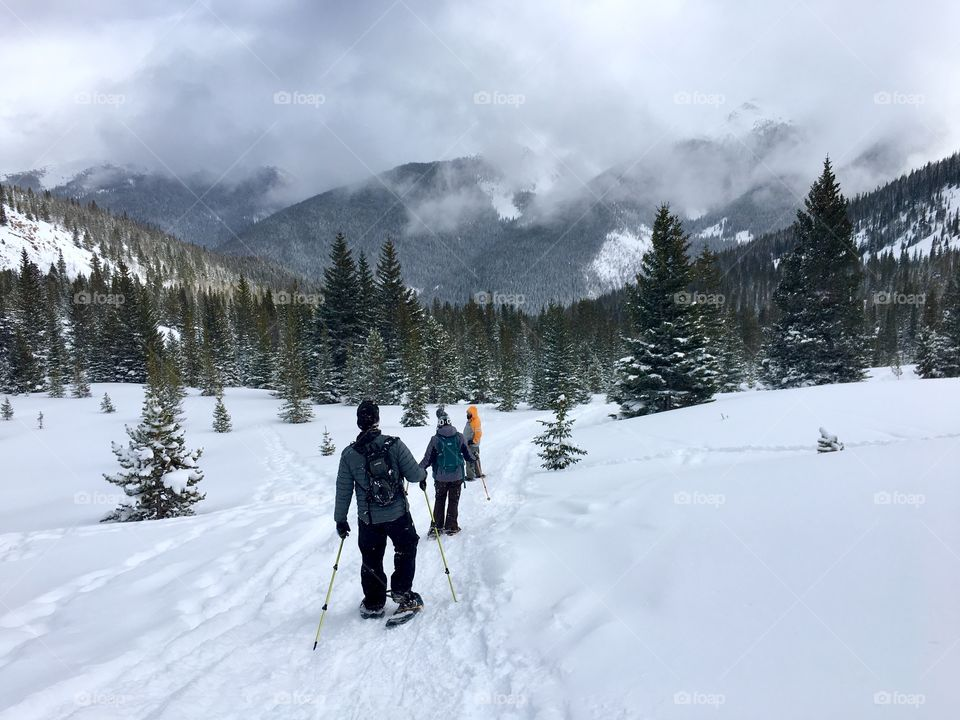 Snowshoeing in the Rocky Mountains of Colorado