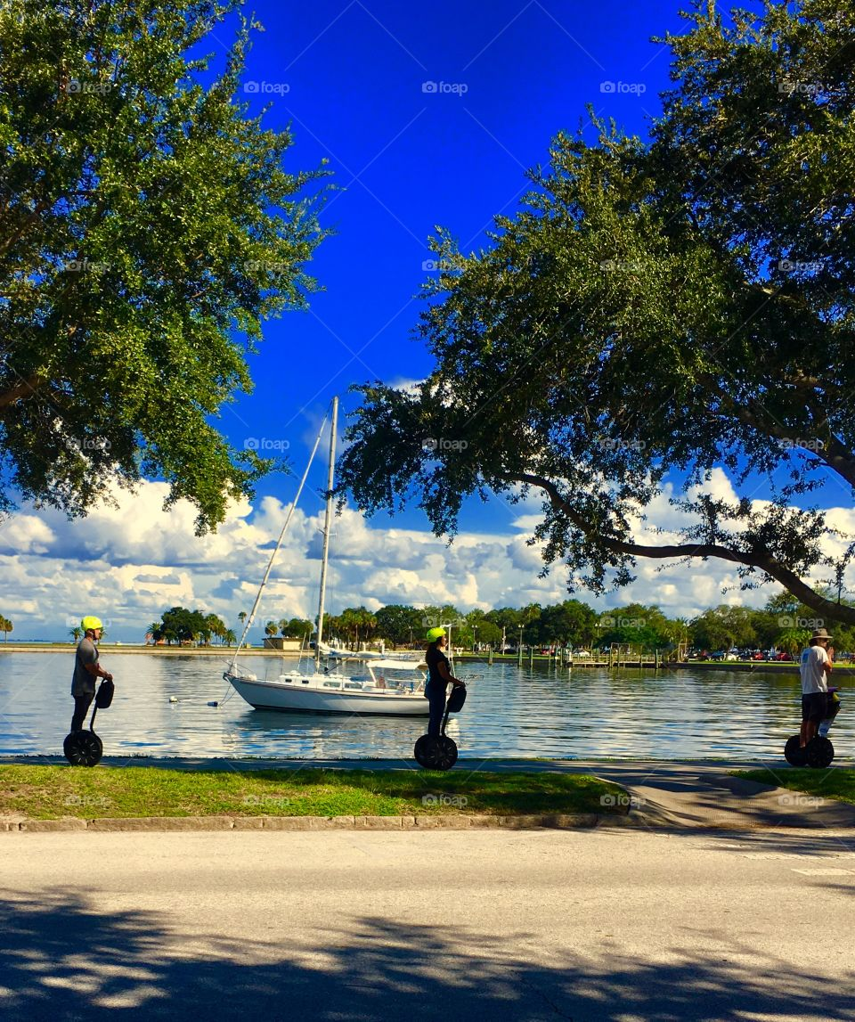 Segway riders by the water in St. Petersburg Florida