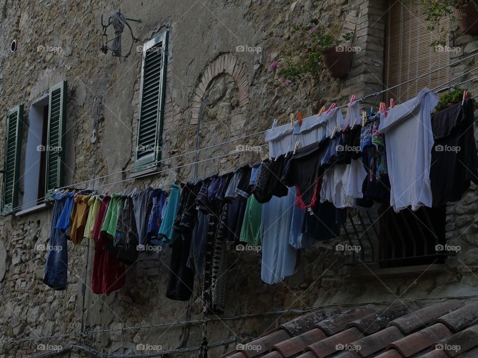 Tuscan hanging clothes