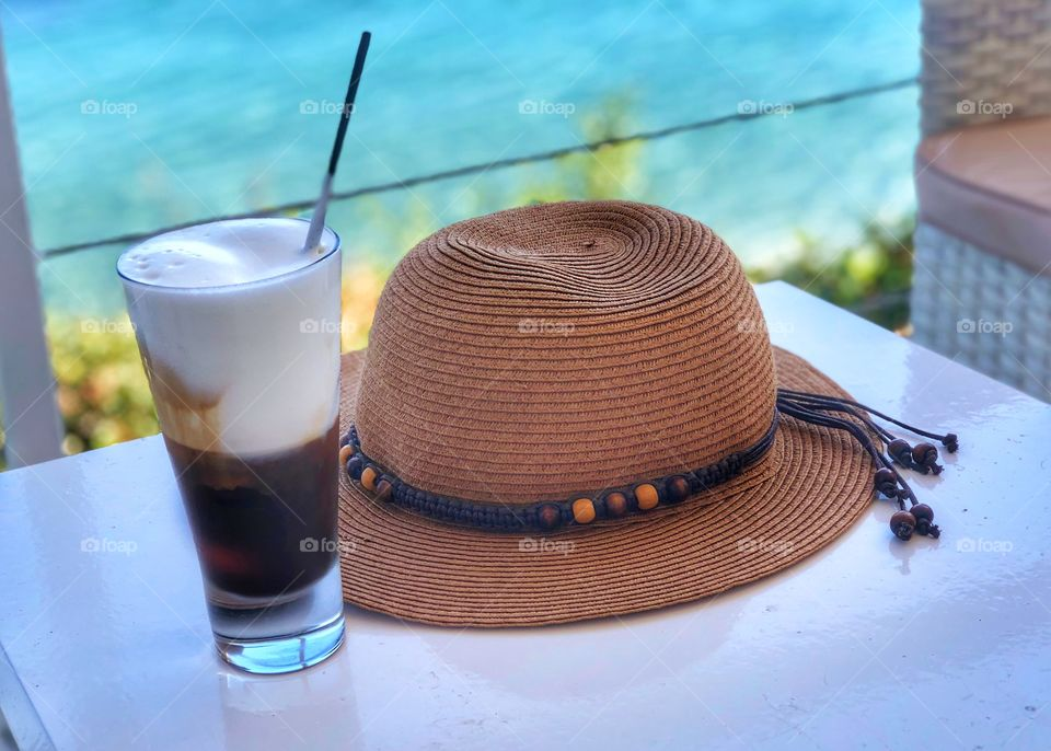 Time for s cappuccino freddo coffee by the sea