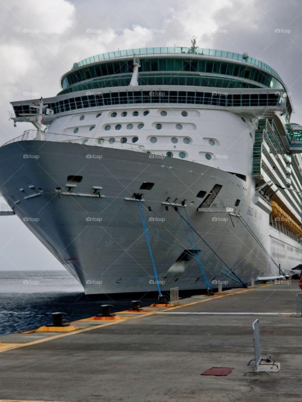 Cruise ship docked in Port St Maarten