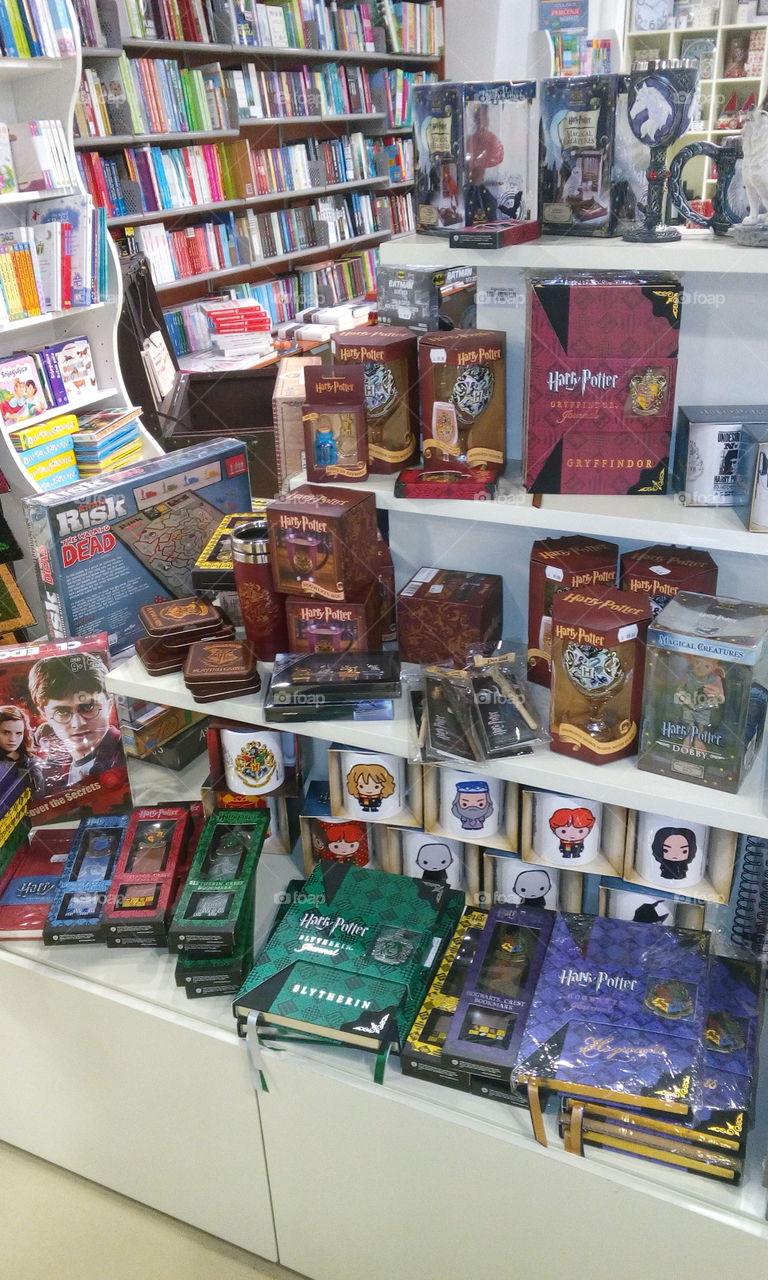 Harry Potter Fan Shelves in a Bookstore