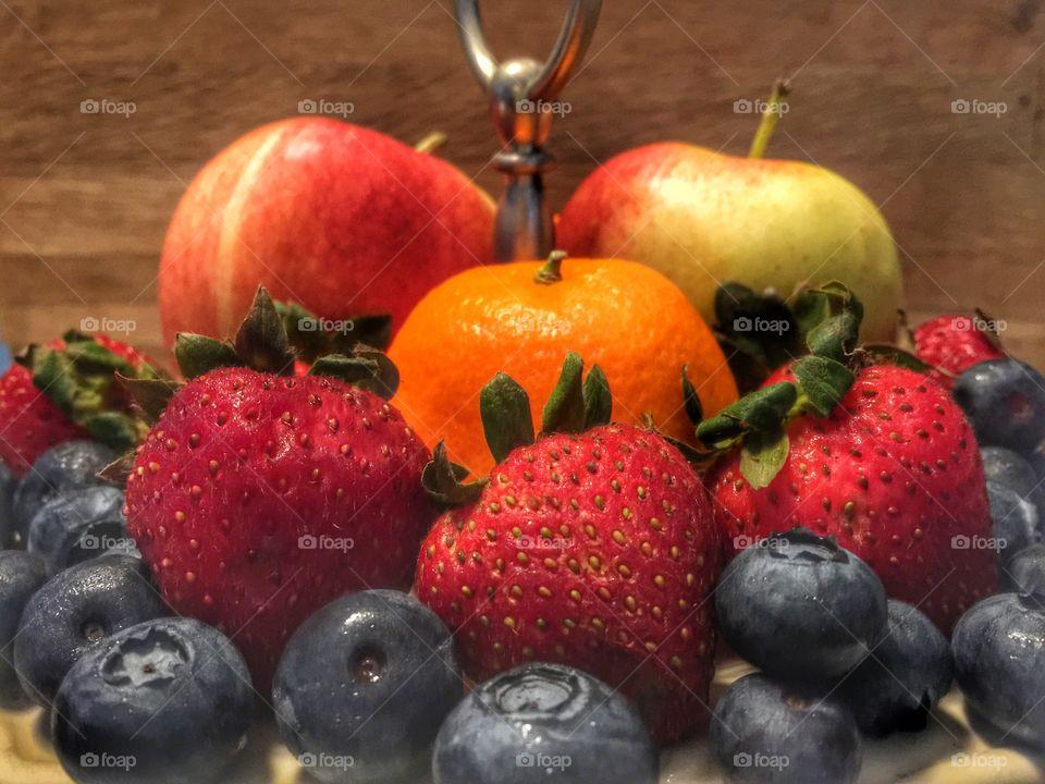 Favorite fruit is apples,orange,strawberries and blueberries