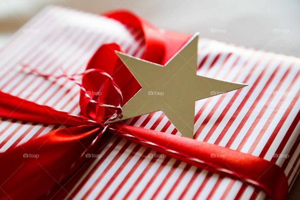 Christmas present with shiny star