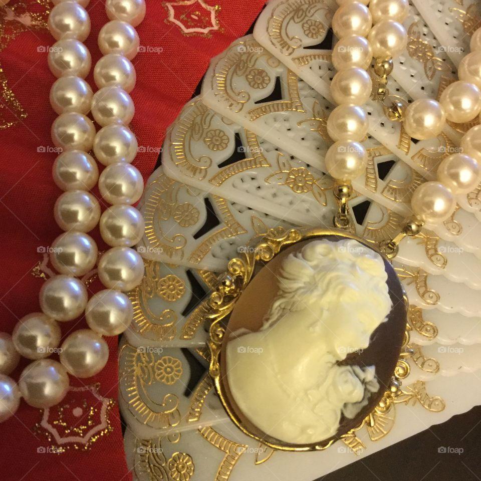 Jewelry, Beads, Necklace, Bone, Gold