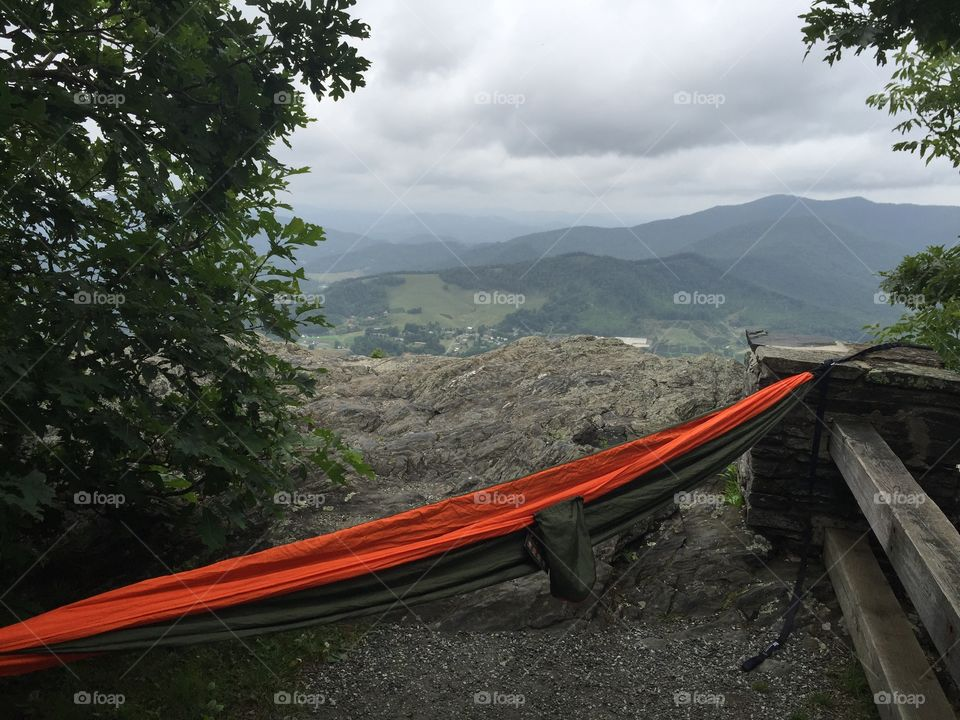Mountain top hammock . Relaxing on top of mount Jefferson, North Carolina
