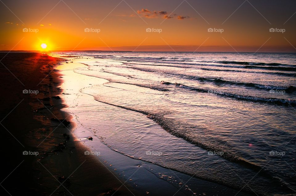 View of beach during sunset