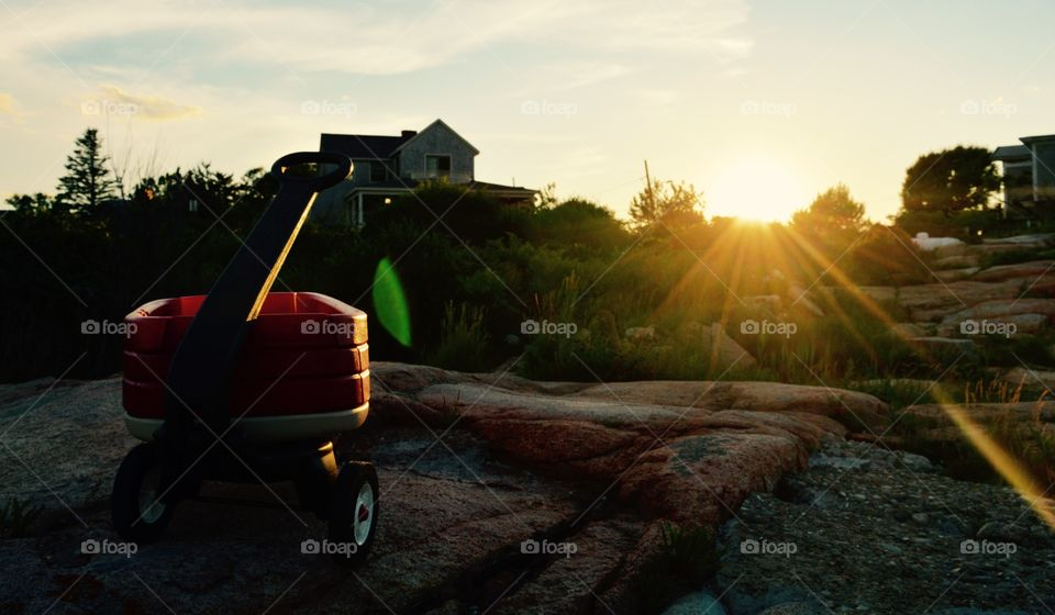Wagon at sunset