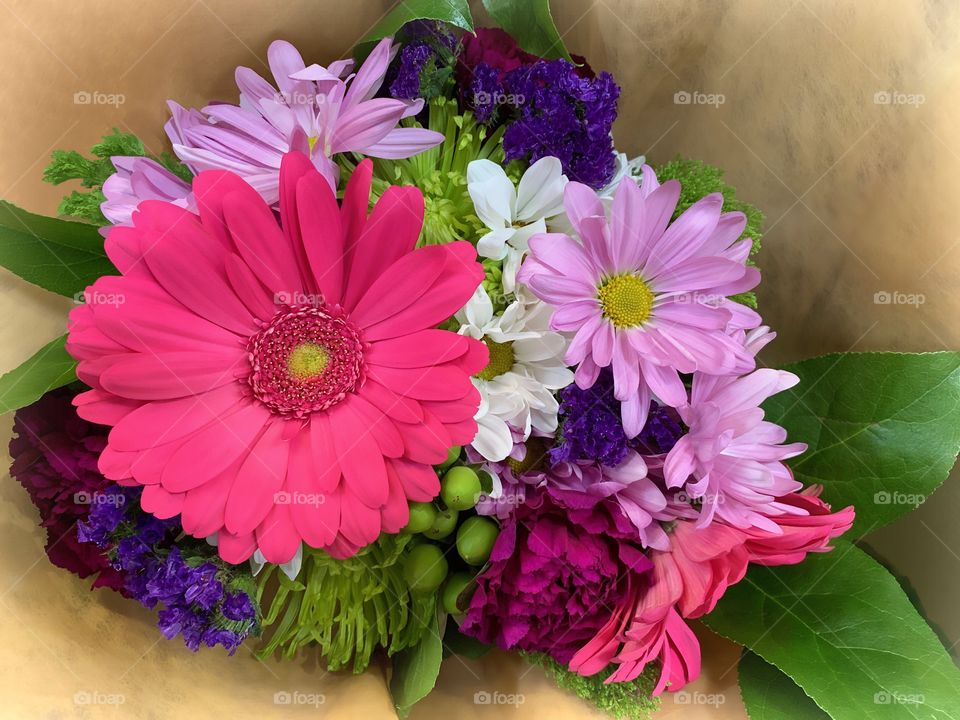 Beautiful, colorful daisy bouquet.