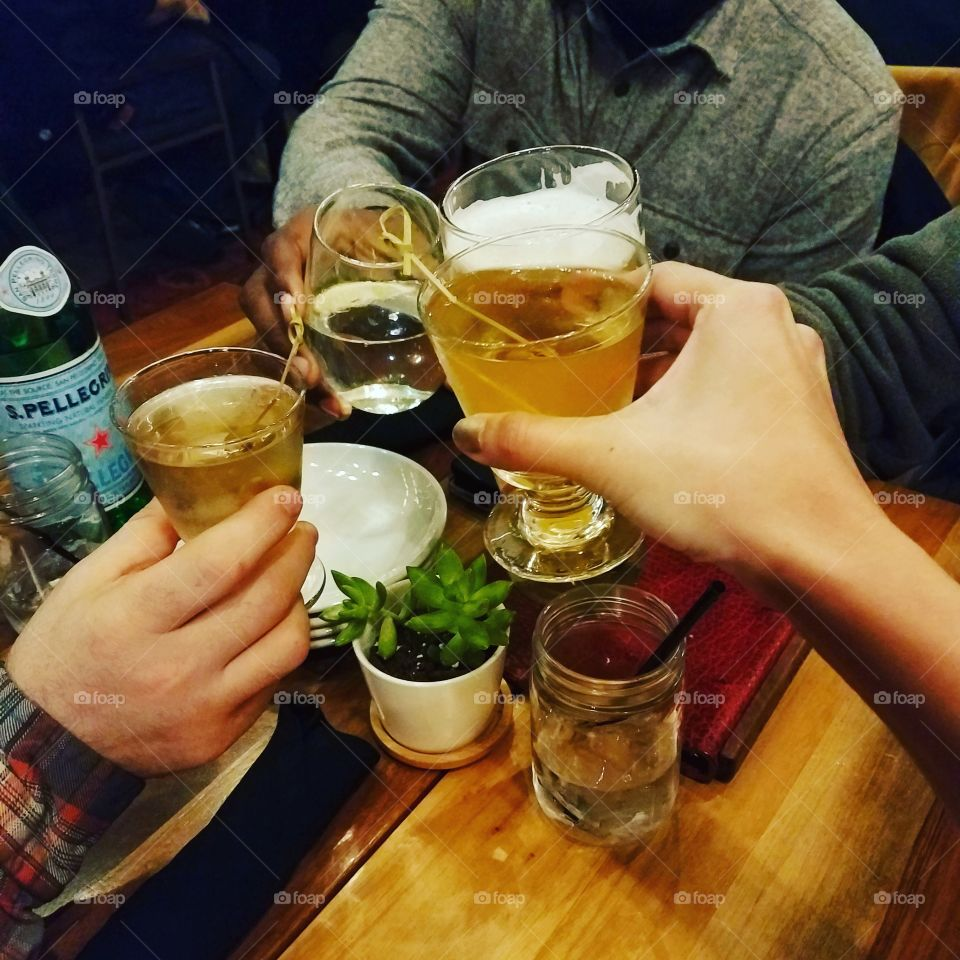 Cheers with friends