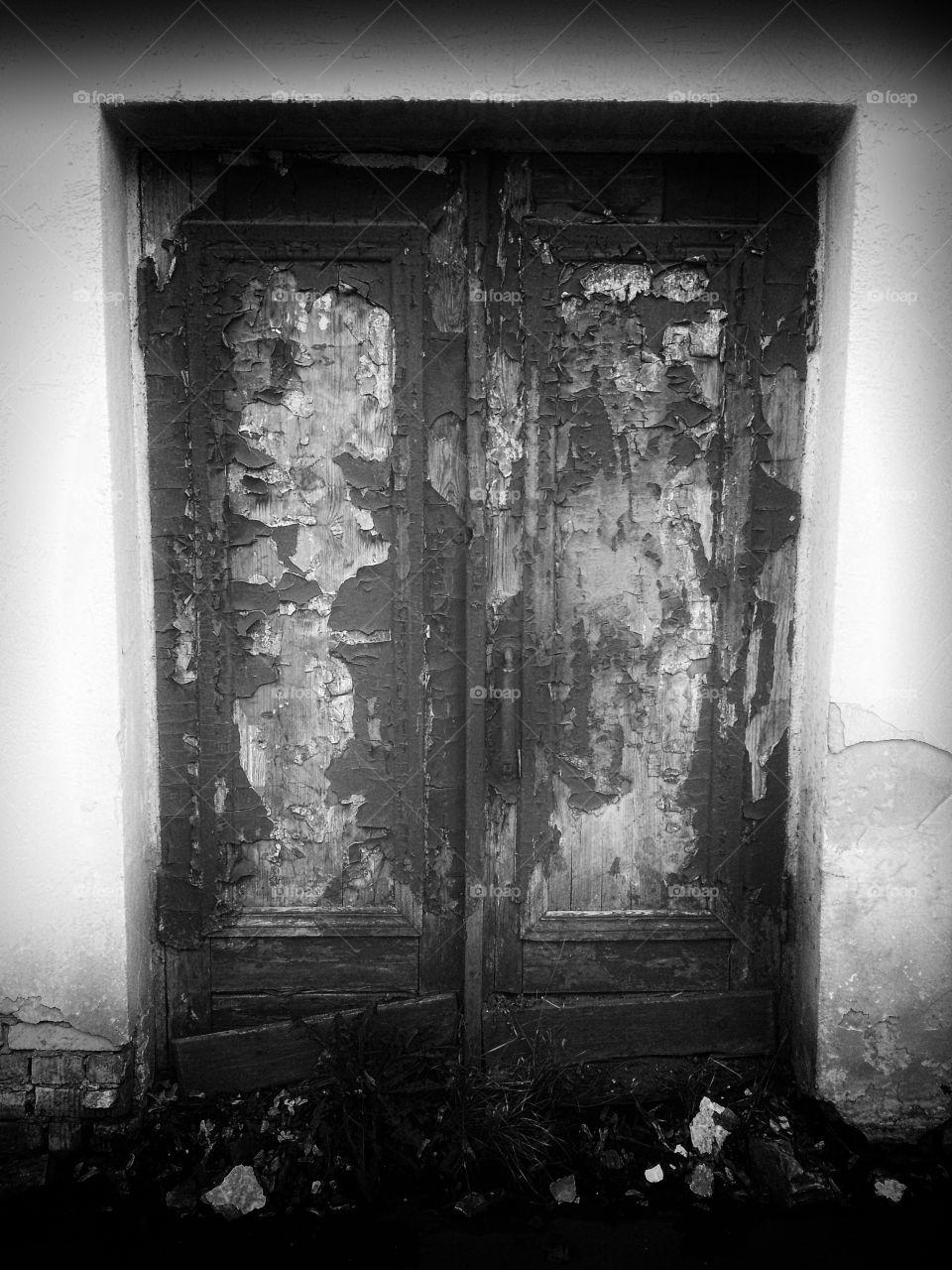 Black and white door background