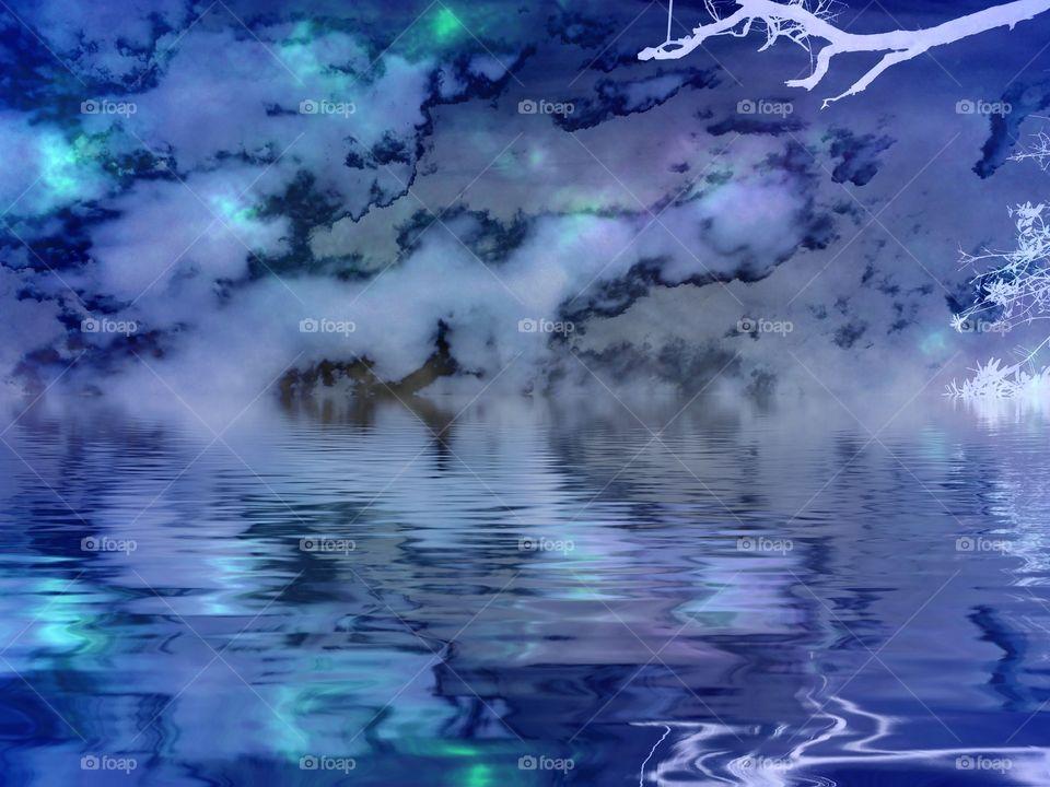Psychedelic lake . Psychedelic lake