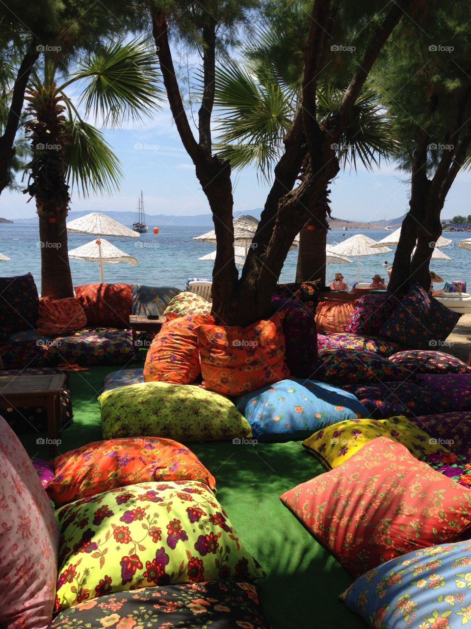 Cushions on the beach