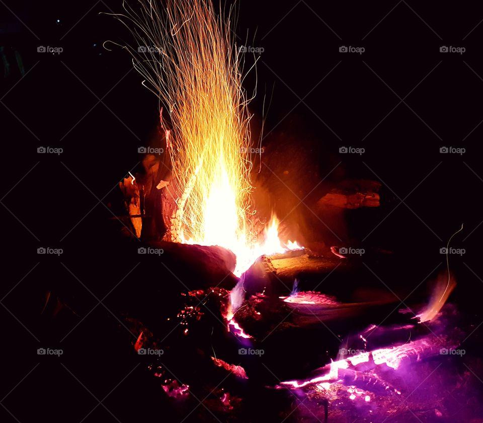 camp fire rural village Nepal