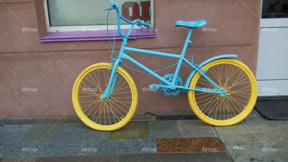 old colorful city bike