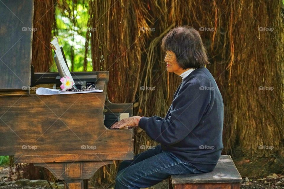 Old Woman Playing Piano Outside Beneath A Tree
