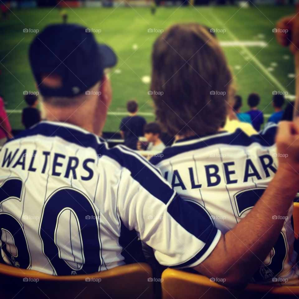 Father and son bonding. My husband and father in law celebrating  100 years of supporting West Brom Soccer team