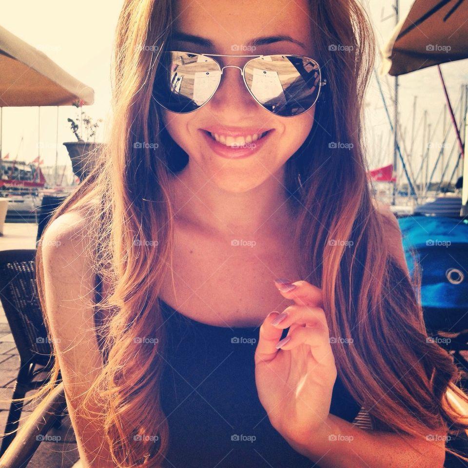 Smiling girl   happy, smile, beautiful, sunglass