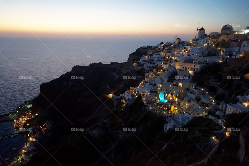 Stunning Oia at sunset, Santorini, Greece