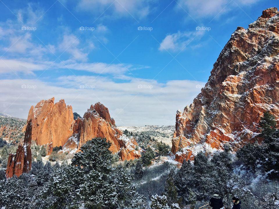 Beautiful snow capped mountain vista.