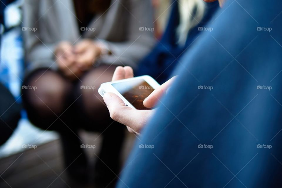 Female using smartphone