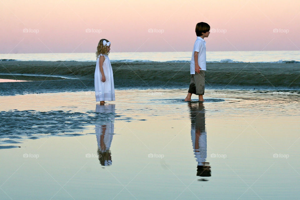 beach ocean girl and boy nature by spooser