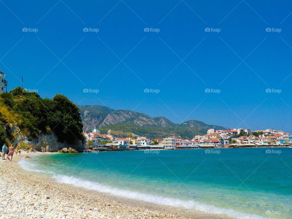 Townscape at waterfront in Greece