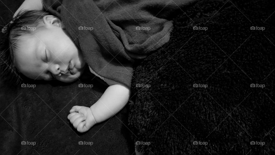 High angle view of sleeping baby
