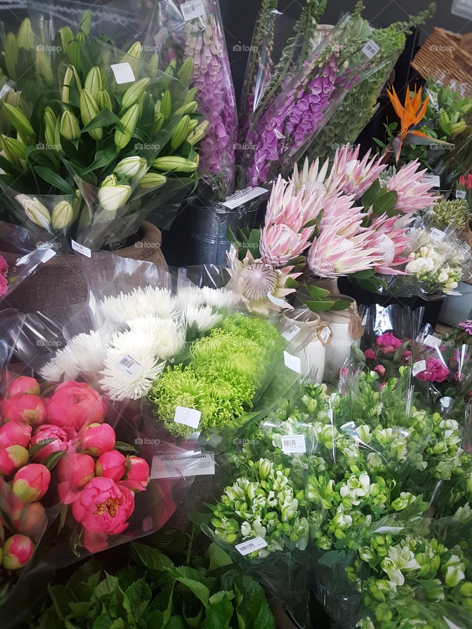 Fresh Bunches of Flowers at market stall pretty