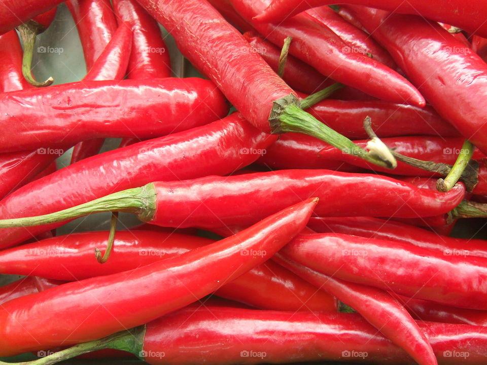 Full frame of red chilli