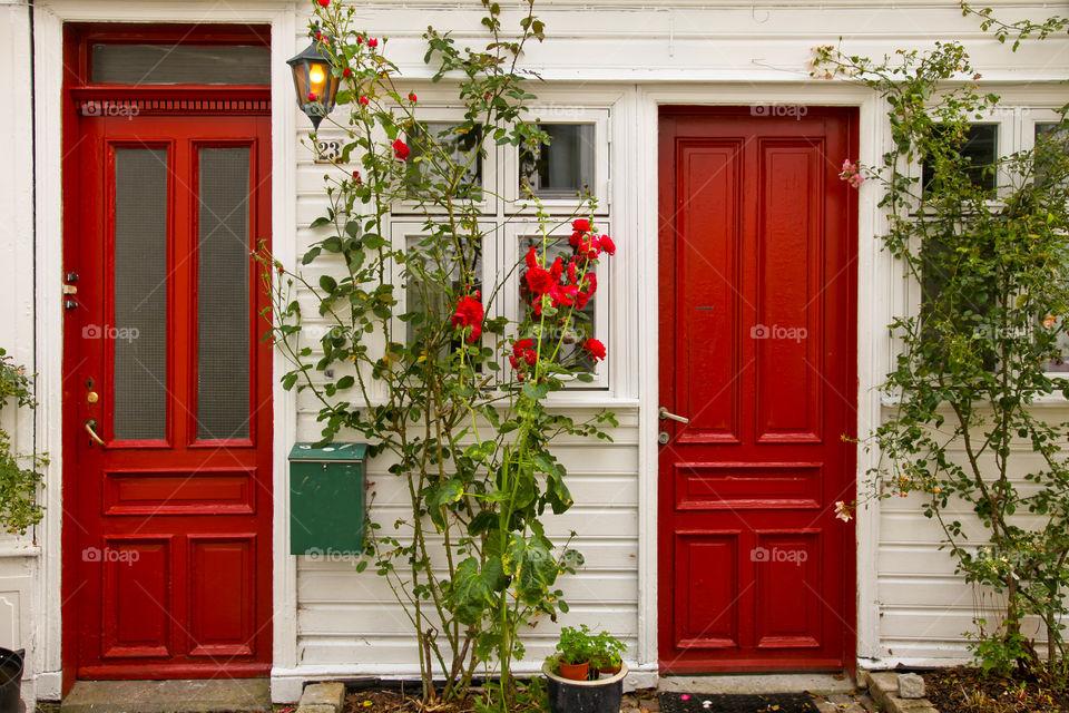 Two red doors.