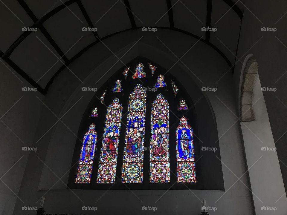 More beautiful stain glass presentations found at St George church in Modbury, Devon.