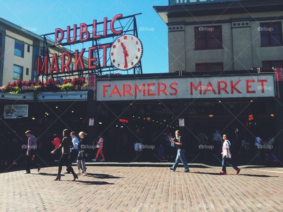 Pike Place Market . Seattle, WA famous Pike Place Farmers Market