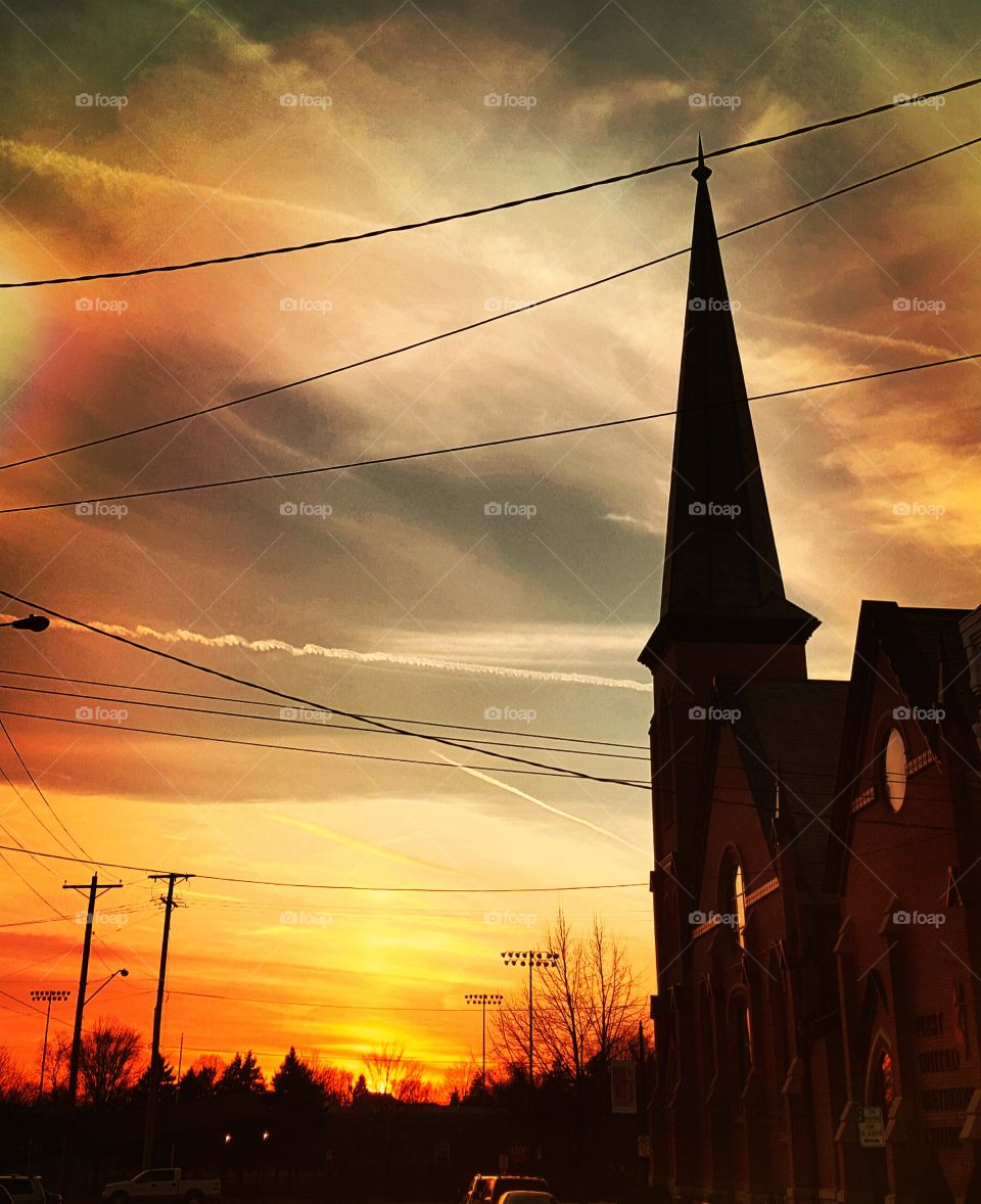 sunset with church steeple