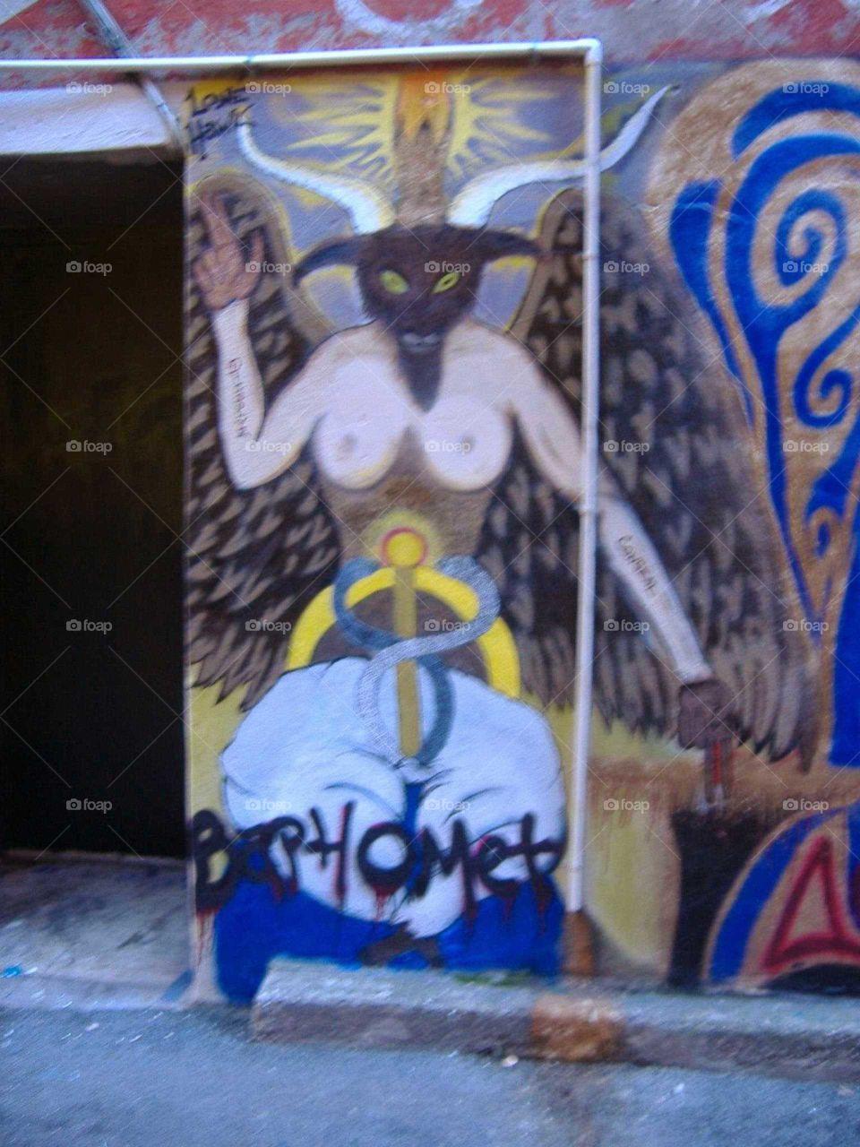 Street art Baphomet