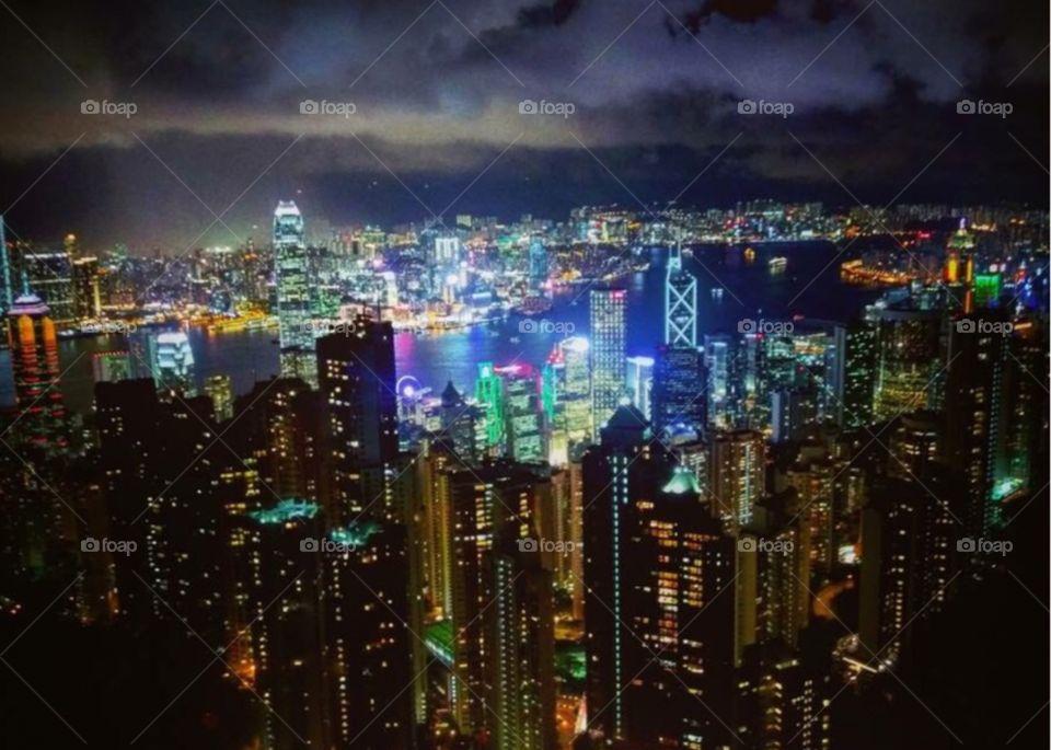 Lantau island Hong Kong city scape view at night with vibrant lights