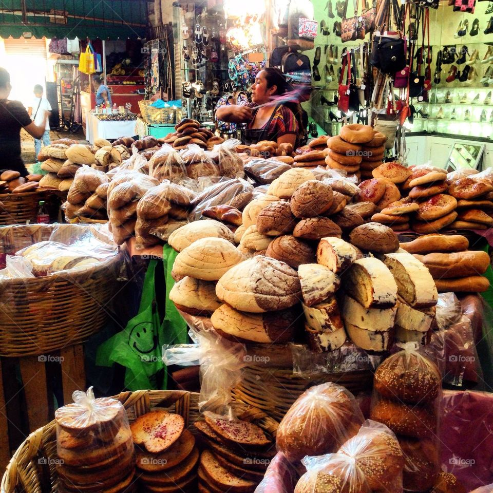 Stack of breads in market