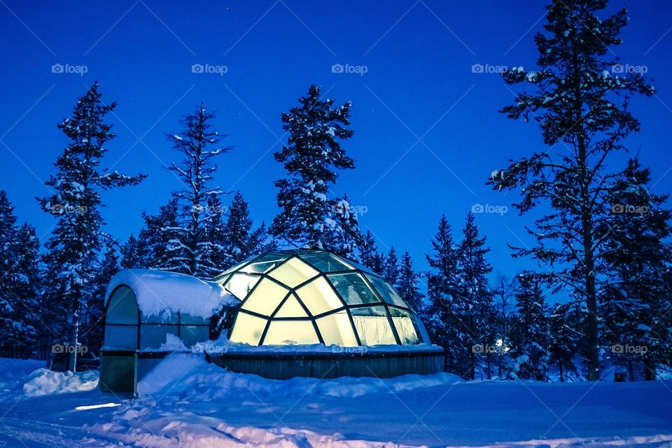 Watching the Northern Lights from our glass Igloo in Kakslauttanen Arctic Village, Lapland