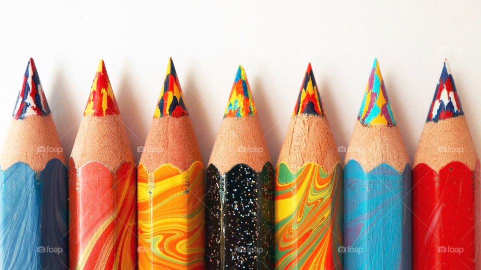 Arrangement of colored pencils