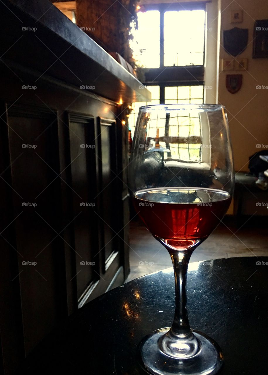 Wine at a quaint pub in CA